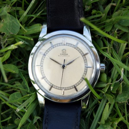 1945 Omega Jumbo Oversized in All Stainless Steel Screw-Back Case Bumper Automatic