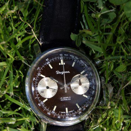1960's Dugena Reverse Panda Tropical Chocolate Dial Large Chronograph