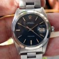 1974 Oysterdate Precision Ref. 6694 Original Black Dial All Stainless Steel Oyster Case 1976 Original Rolex Steel Oyster Bracelet All in Mint Condition