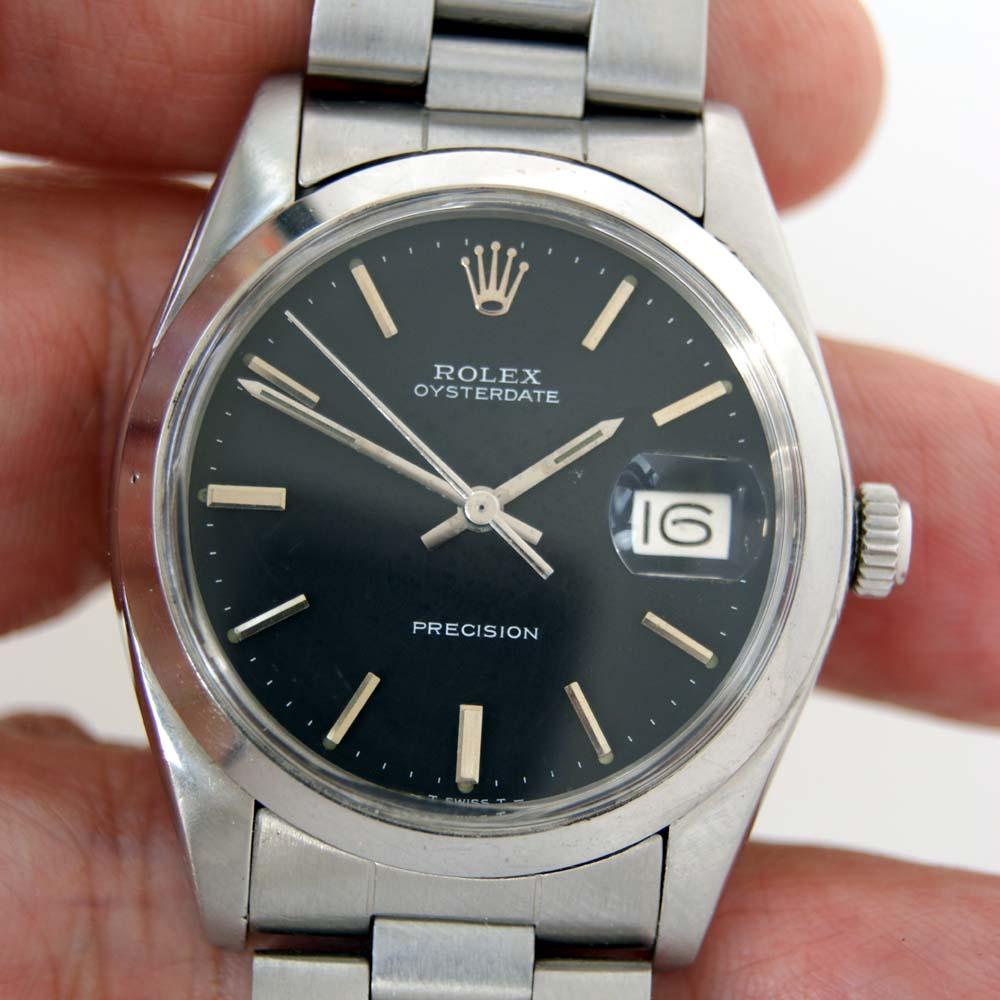 1974 rolex oysterdate precision rare original black dial on its original rolex bracelet. Black Bedroom Furniture Sets. Home Design Ideas
