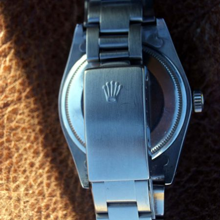 """1975 Rolex Oyster Perpetual Date Chronometer Reference 1500 with Rare """"Wide Boy"""" Black Dial on Original Rolex Oyster Bracelet"""