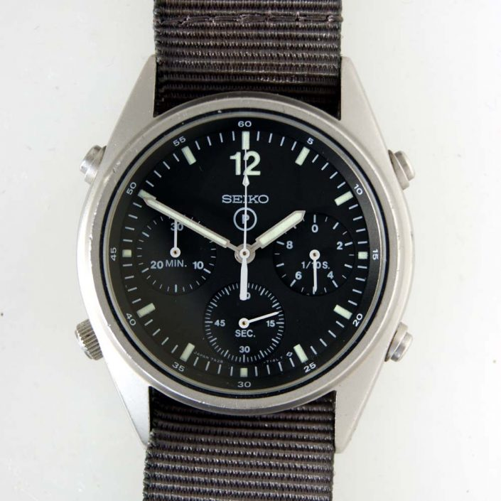 1984 1st Generation Seiko RAF Pilot's Military Chronograph with NATO Issue Numbers on the Caseback