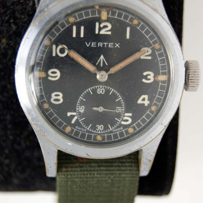 c1943 Vertex WWW Dirty Dozen Watch Issued to the British Army During WW2 with Military Issue Markings on the Caseback