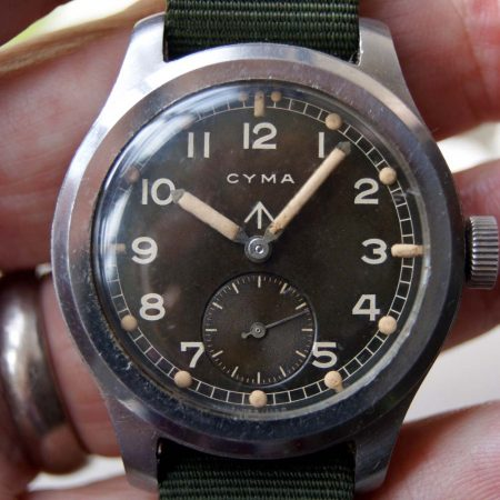 "c1943 Rare Large WWW Cyma WW2 British Military Issued ""Dirty Dozen"" Wristwatch"