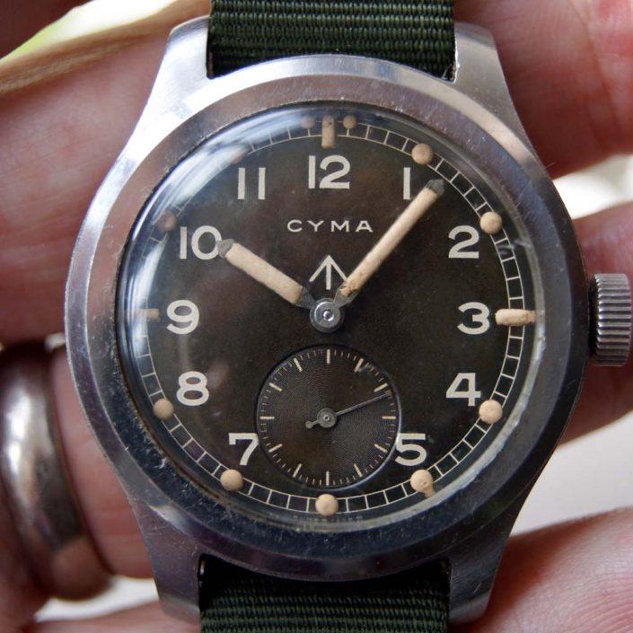 """c1943 Rare Large WWW Cyma WW2 British Military Issued """"Dirty Dozen"""" Wristwatch"""