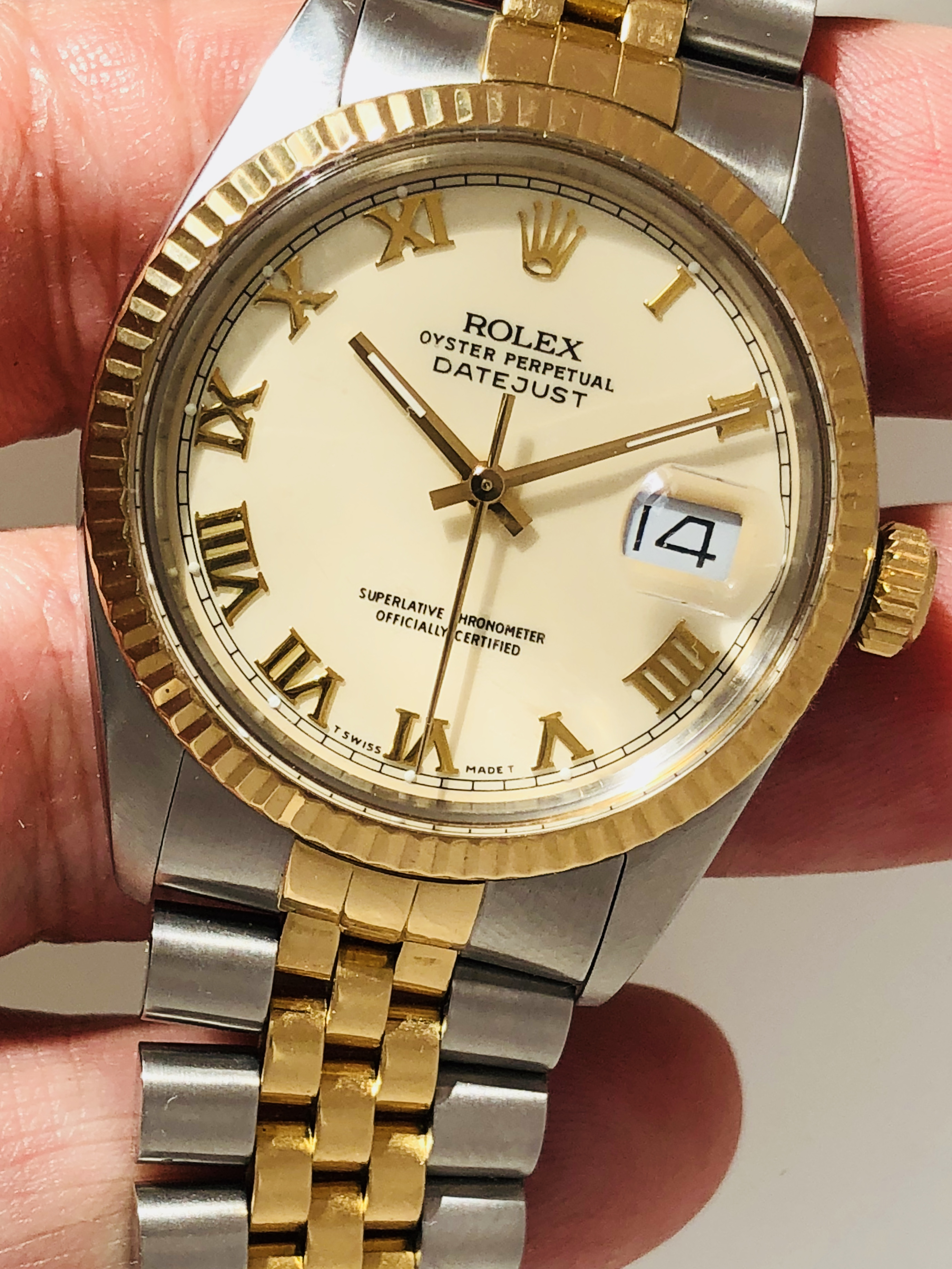 1988 Rolex Datejust Ref 16013 With Rare Ivory Roman Dial