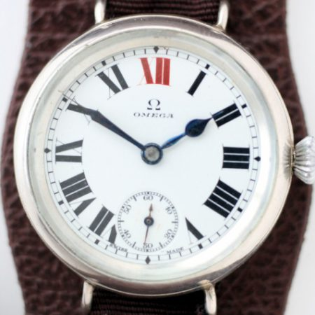 1918 WW1 Solid Silver Officers Watch with Perfect Original Enamel Dial with Red 12 and Original Blued Steel Hands Large Onion Winding Crown