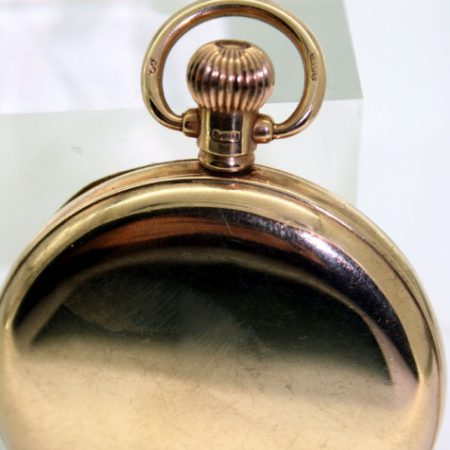 1920s Highly Jewelled Solid Gold Full Hunter Gentleman's Pocket Watch with Fully Hallmarked Original Neck and Bow and Inner Dust Cover. Signed A.W.W.Co. Waltham USA