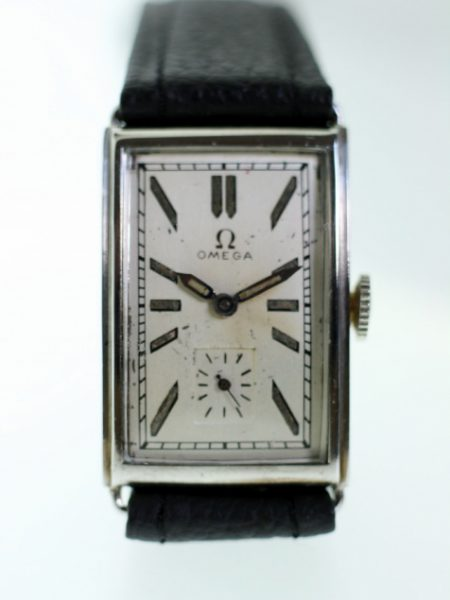 1934 Art Deco Gents Wristwatch Cal. 20F in Large All Stainless Steel Rectangular Case Beautiful Original 1930s Dial with Original Hands and Crown Manual Winding Movement