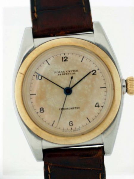 1938 Bubbleback Oyster Perpetual Ref. 3133 Chronometre  Rare Early No Rolex Crown Original Dial and 18k Gold and Stainless Steel Case with Original Rolex Big Crown