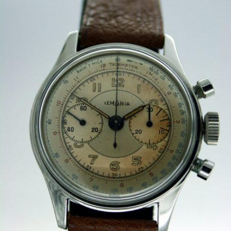 1940s New Old Stock Cal. 27CH Beautiful Chronograph  with Original Telemetric Dial and Mint Condition Screw-Back Waterproof Case with Round Pushers. High-Grade Lemania Cal. 27CH Manual Winding Movement