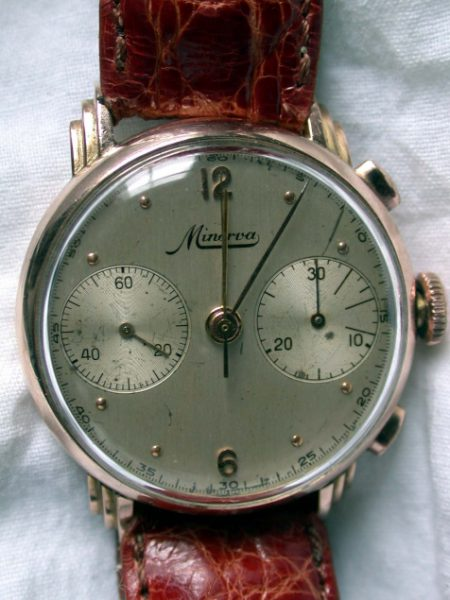 1940s Rare 18k Pink Gold Cal. 13-20 Chronograph. Super High Quality In-House Minerva Movement. Wonderful Rare Lugs.