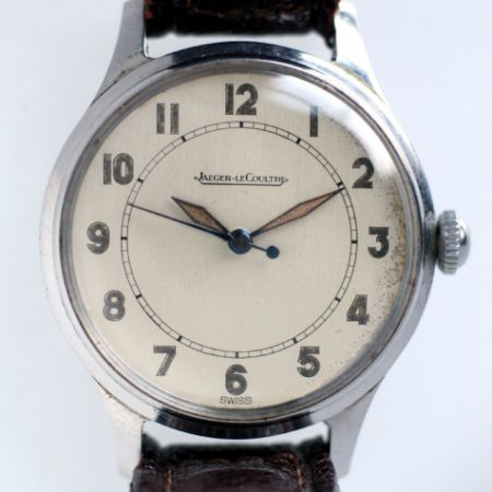 1940s WW2 Military Style with High Quality Cal. 478 Hand Wound Movement Original Dial and Hands with Blued Steel Centre Sweep Seconds Hand in Lovely 40s Shaped Steel Case