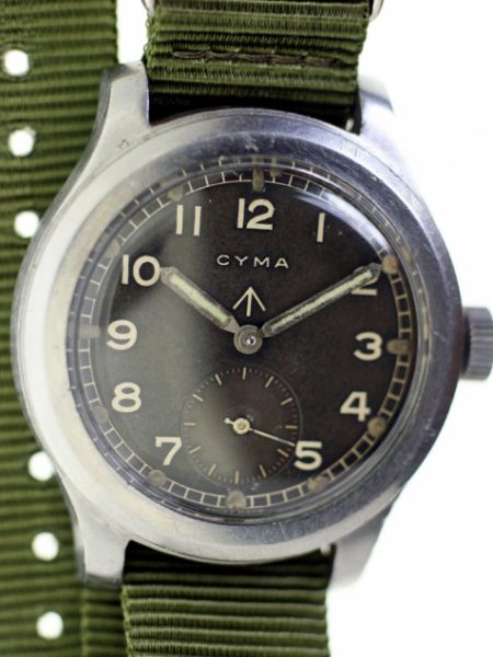 1941 WW2 British Military Army Officers Watch in Large Screw-Back Stainless Steel Case with Military Issue Numbers W.W.W. P 18779/23779 Antimagnetic Protection Cover