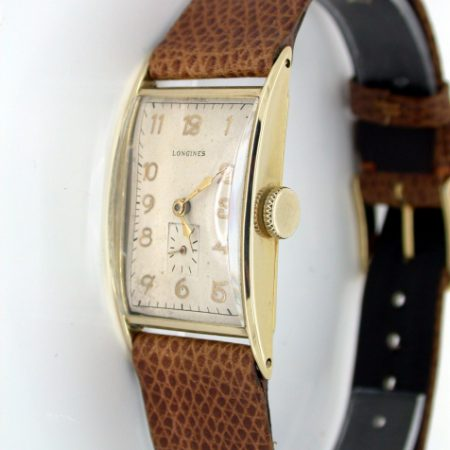 1942 14k Solid Gold Large Art Deco Wristwatch Superb Condition. Longines Strap