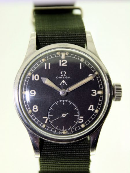 1944 WW2 British Army Officer's Wristwatch with Original Broadarrow Dial and WWW Military Issue Markings on Case-Back. Excellent Original Example with Recent Service Papers
