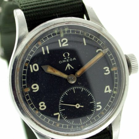 1944 WW2 British Military Army Officer's Wristwatch W.W.W. with Broadarrow and Military Issue Numbers on Case-Back. One of the Best All Original Condition Examples