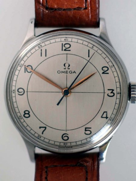 1945 Large Cal. 30T2 with Cross-Hairs All Arabic Dial Original Dauphine Hands and Blued-Steel Sweep Seconds Hand in Large All Stainless Steel Case Reference 2324/5