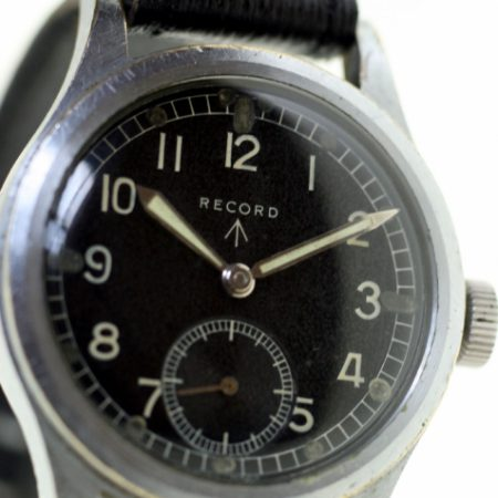 1945 WW2 British Military Watch with Issue Numbers W.W.W. L27227 and Broadarrow on the Case-Back and 15 Jewel Movement Cal. 022 K . A Superb Example