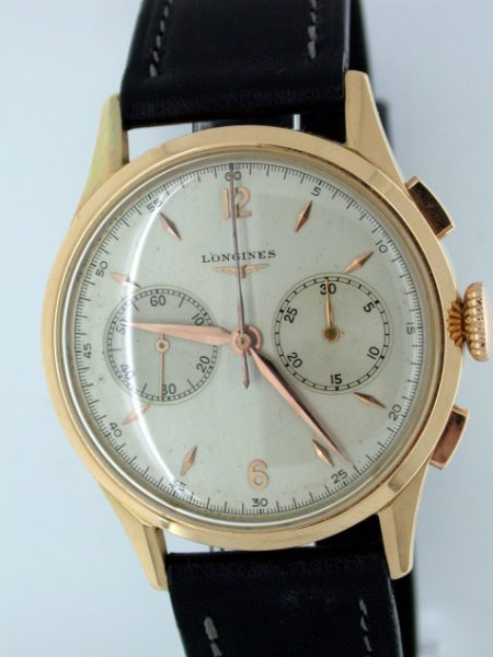 1948 Large 30CH Chronograph in Solid 18k Yellow Gold. Mint Condition. On Original Longines Strap and Buckle.