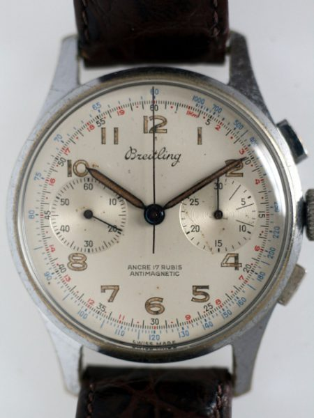"1950 Large 39mm Two Register Chronograph ""Anti-Magnetic"" Ref 1188 in all Stainless Steel Case Beautiful Original Dial with Two Sub-Dials Signed Breitling Crown and Buckle"