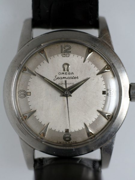 """1950 Seamaster Cal. 351 """"Bumper"""" Automatic with Original Two-Tone Arrowhead Silvered Dial Screw-Back Steel Case with Beefy Lugs Original Crown"""