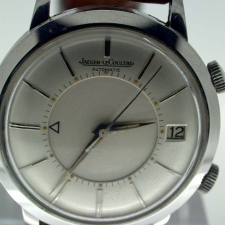 1950s European Memovox Bumper Automatic with Date Window at 3 O'Clock in All Stainless Steel Case. All Original Large Watch