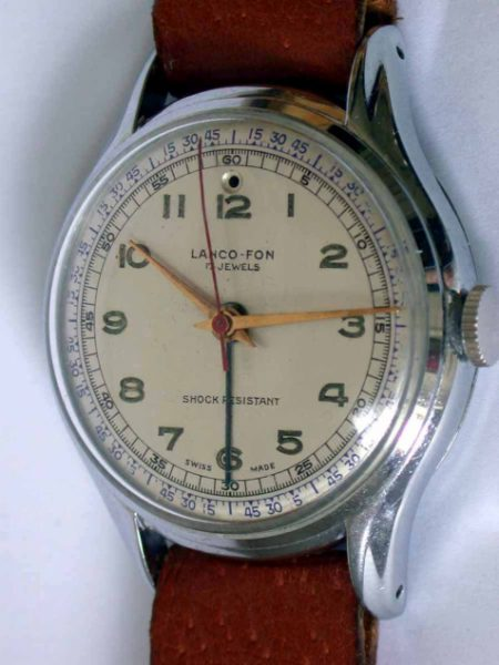 1950s Lanco-Fon Single Button Alarm Wristwatch in Excellent Condition with Perfect Chromed Case and Red Central Seconds Hand