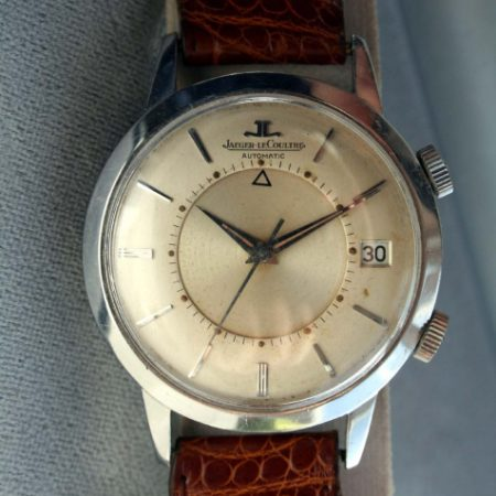 1950s Memovox European Model E855 with Cal. K825 Bumper Automatic Alarm Calendar Date Watch with Oringal Finish Dial Dauphine Hands All Stainless Steel Case Signed Crowns in its Oringal JLC Box