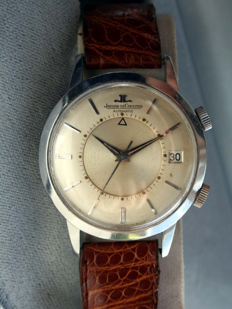 1950s Memovox European Model E855 with Cal  K825 Bumper Automatic Alarm  Calendar Date Watch with Oringal Finish Dial Dauphine Hands All Stainless