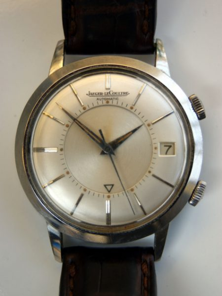 1950s Memovox K825 Bumper Automatic Alarm Calendar Date Watch with Oringal Finish Dial Dauphine Hands All Stainless Steel Case Signed Crowns
