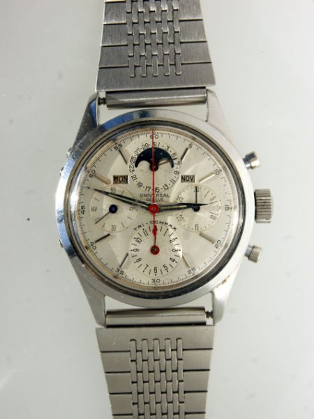 1950s Tri-Compax Moonphase Complication Chronograph with Day-Date-Month Mint Condition Original Dial with Red Chrono Hand in all Stainless Steel Case On Ostrich Strap