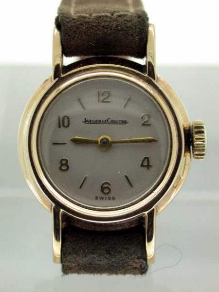 1952 Solid Yellow Gold Wristwatch with Gold Winding Crown