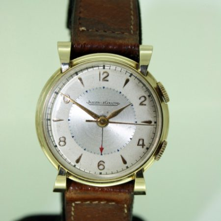 """1953 First """"Memovox"""" Alarm Wristwatch USAF Military Presentation Watch From End of the Korean War Beautiful Case with Ribbon Lugs Jaeger LeCoultre Manual Winding Movement"""