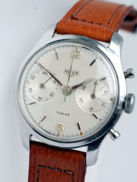 "1953 ""Pre-Carrera"" Early Racing Chronograph with Rare Original Double-Signed ""Turler"" Dial Original Dagger Hands and Arrow-Head Markers. Screw-back Case Valjoux 23 Movement"