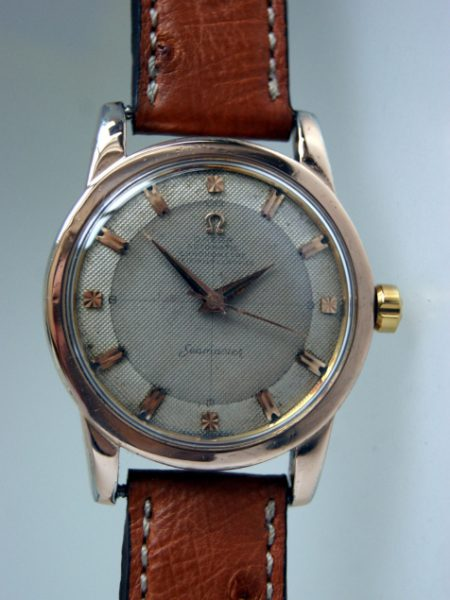 1953 Rare Automtaic Chronomtre Officially Certified Seamaster with Orignal Honeycomb Waffle Cross-Hair Dial in 18ct Rose Gold and Stainless Steel Case
