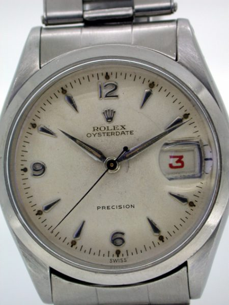 1954 Early Red Date Oysterdate Precision on Original Rare Rolex Stretch-link Bracelet