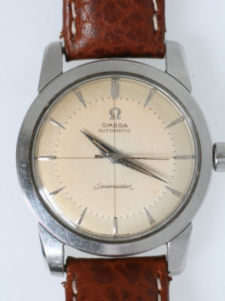 "1954 Seamaster ""Bumper"" Automatic with Original Two-Tone Cross-hairs Honeycomb Dial Snap-Back Steel Case with Beefy Lugs Original Crown"