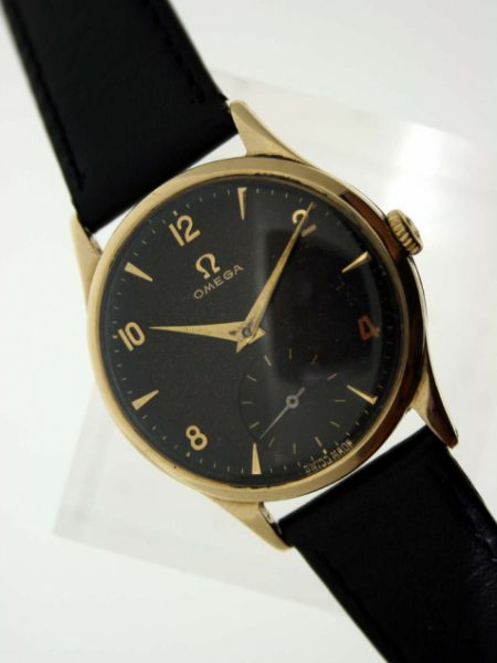 1954 Solid Gold Dennison Case with Original Signed Omega Winding Crown and Rare Original Finish Black Dial with Subsidiary Seconds