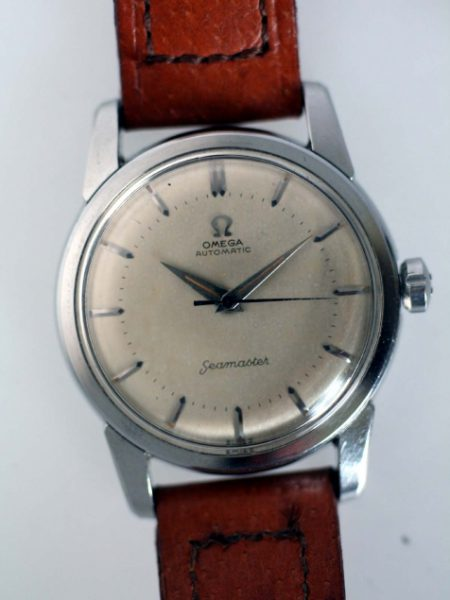 1955 Near New Old Stock Never Been Worn Seamaster Automatic with Beefy Lugs All Steel Case Cal. 500 Movement in Mint Condition. Original Silver Dial Signed Crown