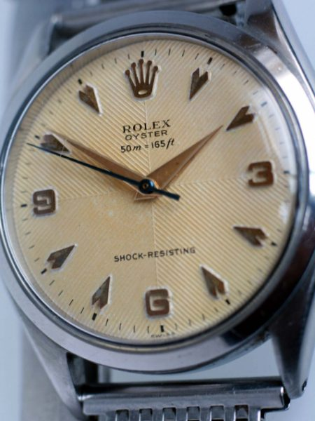 1955 Very Rare Explorer-Style Dial in Original Quartered Chevron Finish Signed Rolex Oyster Shock-Resisting with Early 50m=165ft Depth Rating Original Milanese Steel Bracelet