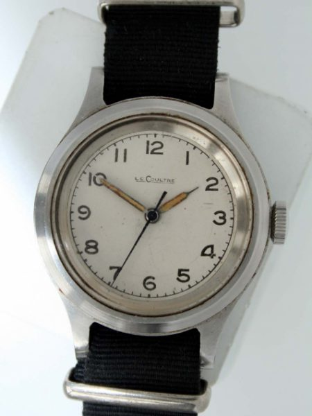 1956 Very Rare Air Ministry RAF White LeCoultre 6B/159/56 British Military Issued Writstwatch with Fixed Bar Military Lugs and Orignal Big Military Winding Corwn. Broadarrow. All Original Mint Condition