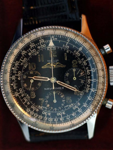1956 Very Rare Early All Black and Gilt Dial Navitimer Chronograph with All Steel Early Beaded Bezel Case One of the First Made with Box and Original Breitling Sale Papers Dated