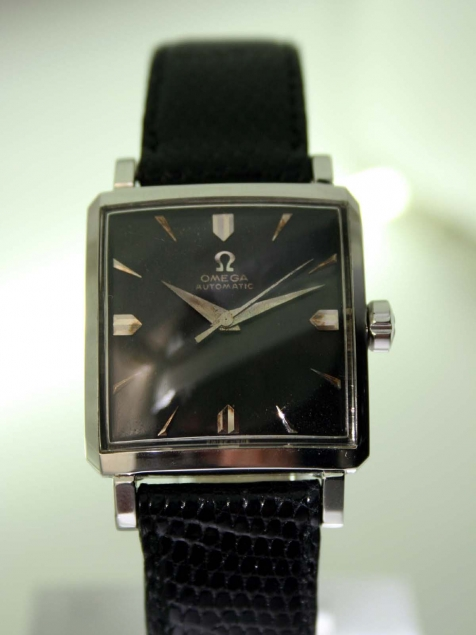 1957 Automatic All Steel Square Case with Horn Lugs and Omega Signed Crown  Swiss Made Original Omega Factory Finish Black Dial with Silver Hour  Markers 20 Jewel Cal 471 Automatic Movement – Corr Vintage Watches
