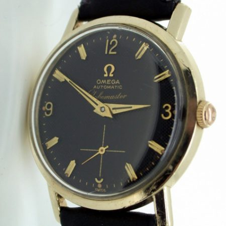 1957 Globemaster with Rare Stunning Black Honeycob Dial and Automatic Movement Cal. 491 Precurser to the Constellation in the US Very Rare Wristwatch