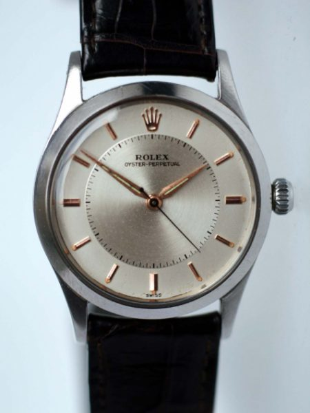 """1957 Rolex Oyster Perpetual """"Bullseye"""" Mint 100% Original Condition with Rose Gold Hour Markers and Dauphine Hands. Rolex Flat-Sided Case Ref. 6532. Cal. 1030"""