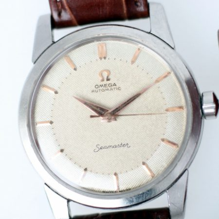 1957 Seamaster Automatic with Original Two-Tone Honeycomb Dial Rare Rose Gold Markers and Hands Screw-Back Steel Case with Beefy Lugs and Original Crown Omega Strap and Buckle