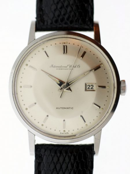 """1958 Rare Original """"Pie-Pan"""" Ingenieur-Style Dial Cal. 8521 Automatic with Dauphine Hands and Date Window at 3 in all Steel Case. Outstanding and in Near NOS Condition"""