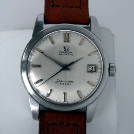 1959 Automatic Seamaster Calendar with Date at 3 Silvered Dial Orignal Lume All Stainless Steel Chunky Lug Snap-Back Case with Hippocampus Logo Cal. 503 Automatic Movement Superb Condition
