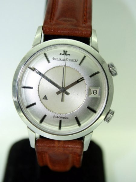1959 Memovox Alarm Bumper Automatic Wristwatch with Calendar in All Stainless Steel Case with JLC Logo Signed Crowns. One Owner From New and Superb Condition European Model Jaeger Memovox